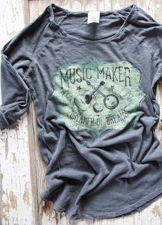 MUSIC MAKER 3/4 GREY TEE - Junk GYpSy co.