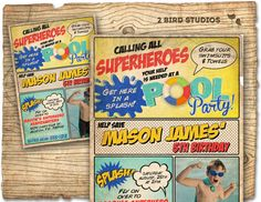 Superhero+pool+party+invitation++Pool+party+door+2birdstudios