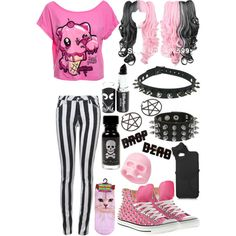 Pastel Goth Cutie<-- If I could get rid of the earrings I would wear this I love alternative/edgy fashion but I am a Christian there is no way I would wear something that's a sign of Satan. I don't agree with that.