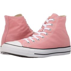 Converse Chuck Taylor All Star Seasonal Hi (Daybreak Pink/White/Black)... ($45) ❤ liked on Polyvore featuring shoes, sneakers, pink, pink high top sneakers, high top shoes, black and white shoes, lace up shoes and lace up sneakers