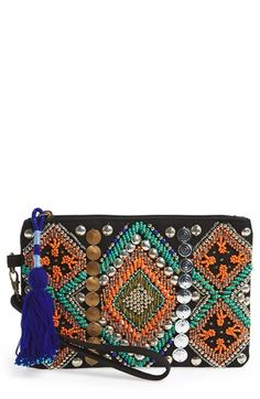 Free shipping and returns on Street Level Beaded Wristlet at Nordstrom.com. An electric blue tassel hangs from the zipper of a boho-chic wristlet embellished with vibrant, geo-patterned beading and glimmering paillettes.