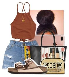 """S o p h o m o r e"" by kenndrips ❤ liked on Polyvore featuring Belkin, MCM, FRUIT, Birkenstock and Alex Monroe"
