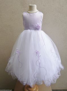 NWT White light purple lilac iris tulle wedding flower girl dress size 2, 4, 6