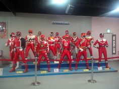 All of the red Power Rangers at Toei Kyoto Park in Japan