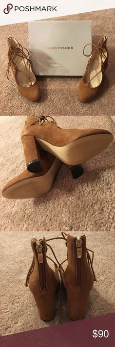 BNWT Marc Fisher Medium Natural Suede Tie Up Heels Okay... I don't know if I want to sell them. Just look at them 😻 they are SO PRETTY! They are suede and just so pretty! Okay but apart from that, they are also comfy! They are 4 inch heels but the thick heel makes them easy to walk on and stay comfortable! They go with everything literally. Just tried on, never worn. Any questions? Just ask :) Marc Fisher Shoes Heels