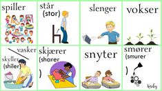 Norsk verbs Norway Language, Chinese English, Sayings, Comics, Learning, Words, Languages, Activities, Pictures