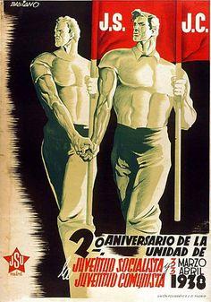 By Desiderio Babiano Lozano, 1938,  2º Aniversario de la unidad de la Juventud Socialista y Juventud Comunista, Republican poster SCW. (Spain)