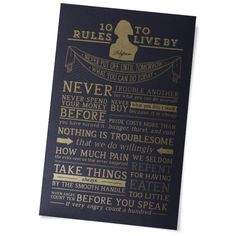 Metallic Gold/Grey Thomas Jefferson's 10 Rules to Live By Poster