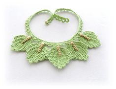 Crochet Choker Crochet Cotton Necklace Beaded by CraftsbySigita