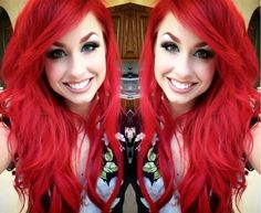 Bright red hair color with natural waves shown by customer~ 10 tips to maintain hair color longer