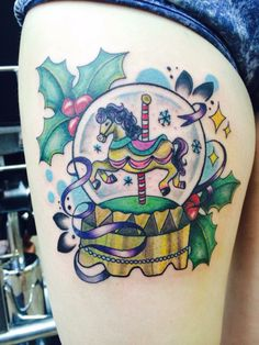 Fairground Snow Globe Inspiered Tattoo  Tattooist: Rachel Halsey Globe Tattoos, New Tattoos, Disney Castle Tattoo, Christmas Tattoo, My Bubbles, Snow Globes, Watercolor Tattoo, Piercings, Ink