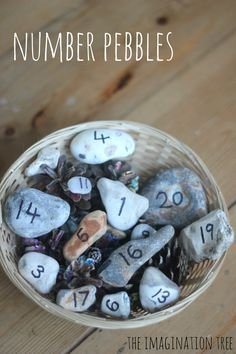 Number pebbles for counting and addition maths activities - The Imagination Tree Counting Activities For Preschoolers, Numeracy Activities, Subtraction Activities, Nursery Activities, Math Manipulatives, Maths Resources, Maths Eyfs, Fun Math, Math Games