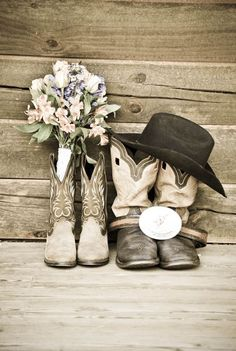 country wedding cowboy boots / http://www.deerpearlflowers.com/cowgirl-boots-fall-wedding-ideas/2/