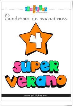 """""""Superverano 4"""" es un cuaderno de verano, de educafichas.com, para Educación Infantil con contenido multidisciplinar: conceptos básicos, grafomotricidad, lectoescritura, números, operaciones, inglés, etc."""