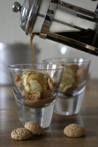 affogato - quick, easy dessert...small scoop of gelato or ice cream, pour over a shot of espresso - that's it!