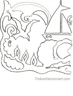 Nautical ocean waves color page  k  Pinterest  Coloring pages