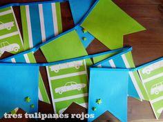 Tres Tulipanes Rojos: Guirnalda de banderines para niño
