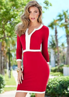 Lady in red. A dress that defines sophisticated style. Venus color block dress.