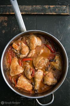 Chicken Cacciatore (Hunter Style Chicken) ~ Chicken cacciatore, an Italian hunter-style chicken braised in a tomato-based sauce with onions, garlic, and white wine. ~ SimplyRecipes.com