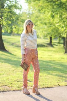 GlamGrace - By Tabby Silk jogger pants, blush pink and stripes.