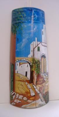 paisaje andaluz tegola pintada al oleo coppi vecchi e nuovi,pintura al oleo,tegola nuova pintura al oleo.....