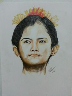 The girl from bali  Colored pencils on paper A3