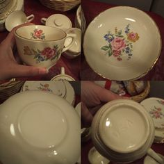 Incised U S A Marked China: Incised U S A Marked China:-  I inherited my grandmothers china- I cannot find any like it, I dont know when she got it.  I have a 16? serving set? or