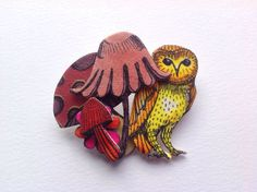 A personal favorite from my Etsy shop https://www.etsy.com/listing/225939753/owl-brooch-original-illustration
