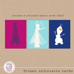 FREE Frozen Silhouette Cards - Project Mouse: Frozen by Britt-ish Designs - Perfect for Project Life and Journal card albums!!