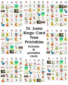 Happy Birthday Dr. Seuss!  Dr. Seuss Free Bingo #printable Includes 10 game card printable.