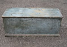 19TH CENTURY 6 BOARD BLANKET CHEST IN ORIGINAL BLUE PAINT.