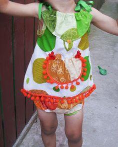 """MASTI VENETIENE MADE IN ROMANIA: Set rochita si chilotei """"Lime & Orange"""""""