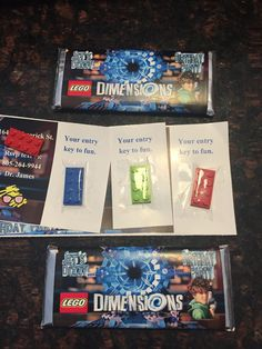 Fun ideas for a lego dimensions themed birthday party httpswww used wide packing tape to attach flat lego pieces to invitation the kids loved it stopboris Image collections