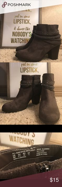 Grey Booties with Bling BONGO faux suede booties with wood-look heel and rhinestone bling. Zip up side closure. Like new, worn once. BONGO Shoes Ankle Boots & Booties