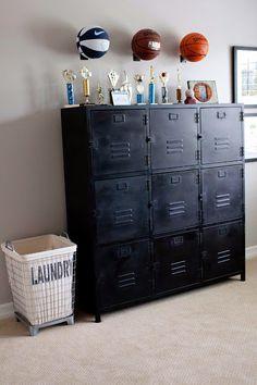 Locker cabinet, sports ball racks and industrial laundry bin