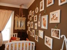 vintage baby themes for girls | Antique Shabby Chic Girls Nursery Walls in Chocolate Brown