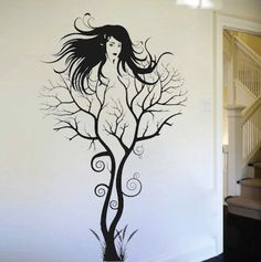 Abstract Tree Woman Tree Wall Decal Removable by TrendyWallDesigns Mural Wall Art, Vinyl Wall Art, Wall Art Decor, Wall Decal, Tatoo Tree, Art Sketches, Art Drawings, Tree Tattoo Designs, Tattoo Ideas