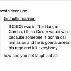 Ahaha for the last time he's not asian :S !! Calum Hood <3 5 Seconds Of Summer Hunger Games