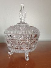 Vintage Candy Dish, Footed, Cut Glass with Lid, Geometric Design