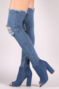 Distressed Denim Peep Toe Over-The-Knee Boots