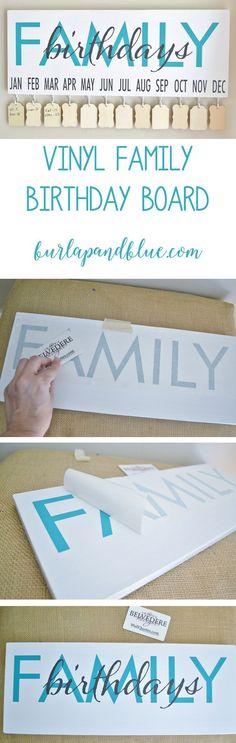 vinyl family birthday board