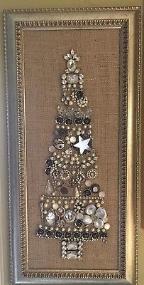 "VINTAGE Jewelry Christmas Tree framed Art 23""x11"" gold silver shabby chic"