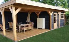 Shed Plans - Sweet detached lanai. Perfect for entertaining. - Now You Can Build ANY Shed In A Weekend Even If You've Zero Woodworking Experience! Backyard Sheds, Backyard Retreat, Backyard Patio, Backyard Landscaping, Outdoor Rooms, Outdoor Living, Outdoor Decor, Bbq Shed, Outdoor Kitchen Bars