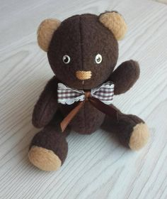 Brown Teddy bear. Soft teddy bear is made of soft jersey. The