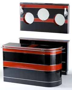 AN ART DECO CHROMED METAL AND LACQUER BAR, BACK BAR AND LIGHTED MIRROR