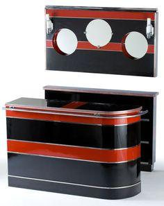 Antique Art Deco Pop Up MARTINI BAR LIQUOR CABINET  Vintage