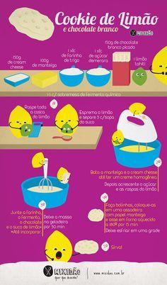 Receita ilustrada de Cookie de limão com chocolate branco. Uma receita diferente…