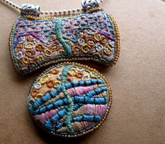 Embroidered Pendant Necklace in Silk with Sterling Silver. $200.00, via Etsy.