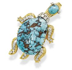 A TURQUOISE AND DIAMOND BROOCH, BY CARTIER