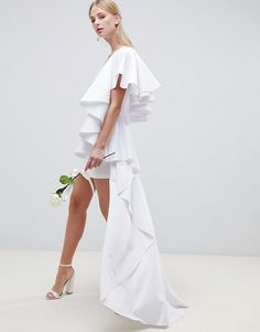 Asos Edition EDITION asymmetric ruffle wedding dress with high low hem , Wedding Dresses Under 500, Amazing Wedding Dress, Luxury Wedding Dress, Best Wedding Dresses, Boho Wedding Dress, Unusual Dresses, Weekend Style, Bridal Collection, Ball Gowns